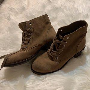 Sam Edelman dark tan suede lace up boots, 7 1/2